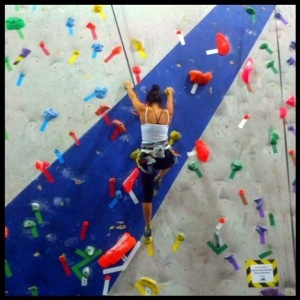 Indoor climbing gym, auto belay machine
