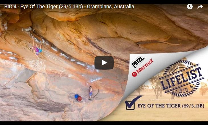 Katha Saurwein climbs Eye Of The Tiger (5.13b) - Grampians, Australia