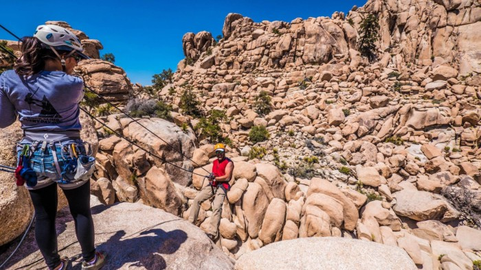 rappelling adventures, joshua tree national park, california