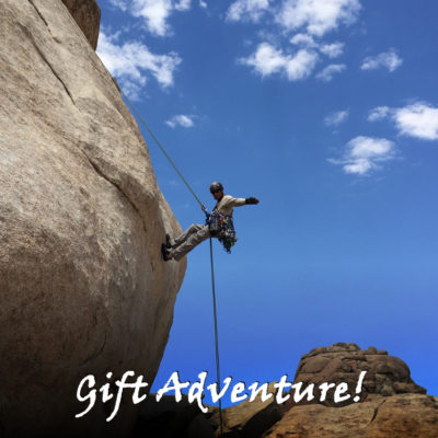 rappelling, joshua tree, california, adventures, gift cards, gift certificates, unique gifts, climbing, gifts, holiday, birthday, graduation, anniversary, unique