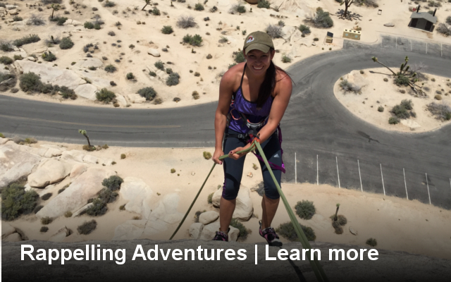 rappelling, lessons, class, learn to, rappel, how to, california, joshua tree, los angeles