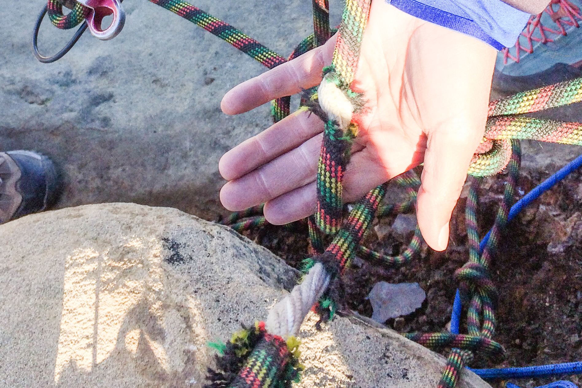 climbing, rope, break, core, inside of a climbing rope