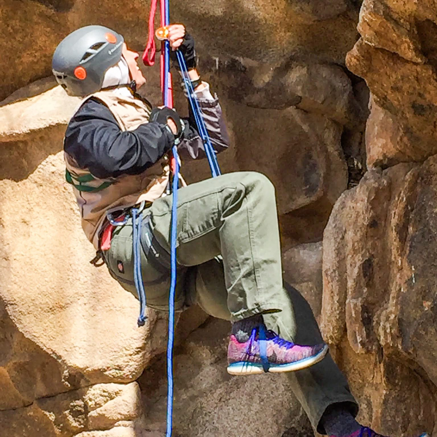 rappelling, rappel, ascend, abseiling, darius ascending a rope, joshua tree national park, california